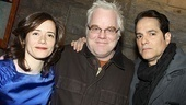 This is the evening's real dream team: LAByrinth Theater Company co-founder Philip Seymour Hoffman poses between the company's co-artistic directors, Mimi O'Donnell and Yul Vazquez.