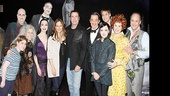 The Addams clan (Adam Riegler, Jackie Hoffman, Brad Oscar, Bebe Neuwirth, Zachary James, Roger Rees, Rachel Potter, Jesse Swenson, Heidi Blickenstaff and Adam Grupper) will surely remember the night the Travolta family paid a visit.