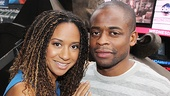 Tracie Thoms gets cozy with her Stick Fly fiancé, Dulé Hill.
