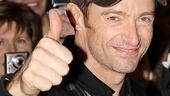 No need to ask Hugh how opening night went! Hugh's thumbs up says it all as Jackman exits the Broadhurst Theatre stage door to greet his adoring fans.