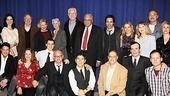 The Best Man cast members (clockwise from top left) Olja Hrustic, Michael McKean, Candice Bergen, Angela Lansbury, John Larroquette, James Earl Jones, Eric McCormack, Kerry Butler, Donna Hanover, Sherman Howard, Angelica Page, Corey Brill, Jefferson Mays, Bill Kux, James Lecesne, Fred Parker, Jr., Amy Tribbey and Curtis Billings take a company photo with director Michael Wilson.