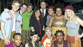Godspell stars (clockwise) Hunter Parrish, Nick Blaemire, George Salazar, Telly Leung, Celisse Henderson, understudy Julia Mattison, Uzo Aduba, Morgan James, Anna Maria Perez de Tagle and Wallace Smith welcome TLC's 19 Kids and Counting stars Michelle and Jim Bob Duggar backstage on Valentine's Day.