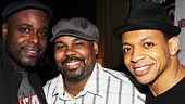 Hats off to original and current cast members J. Bernard Calloway,  James Monroe Iglehart and Derrick Baskin arrive in style for the party. 