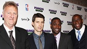 Nuthin' But Net! Larry Bird, Tug Coker, Kevin Daniels and Magic Johnson arrive at the Edison Ballroom for their opening night party.
