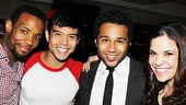 Wallace Smith, Telly Leung, Corbin Bleu and Lindsay Mendez toast the town after a great performance at the Circle in the Square Theatre. 