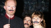Christian Borle, who plays Blacke Stache, looks a wee bit peeved at imitators Jesse Tyler Ferguson and Celia Keenan-Bolger.
