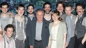 Adam Chanler-Berat, Celia Keenan-Bolger, Christian Borle and the rest of the Peter and the Starcatcher gang crowd around Four Seasons legend Frankie Valli at the Brooks Atkinson Theatre.