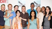 The cast of Clybourne Park, joined by playwright Bruce Norris and director Pam MacKinnon, clusters around Morgan Freeman for a company photo. Cheese!