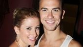Caissie Levy and Richard Fleeshman, who have starred as Molly and Sam since Ghost premiered in London, celebrate their show's latest milestone together.