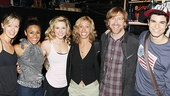 Hip-Hip Hooray! After a breathtaking performance, Bring It On stars Kate Rockwell, Ariana DeBose, Taylor Louderman and Jason Gotay proudly flank lyricist Amanda Green and Phish's Trey Anastasio backstage at the St. James Theatre.