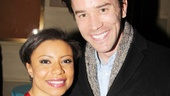 Shalita Grant hangs out at the after-party with End of the Rainbow's Tom Pelphrey.