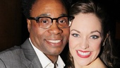 The winners for Favorite Actor and Actress in a Musical (Billy Porter and Laura Osnes) pose with their awards.