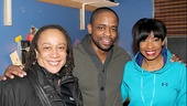 S. Epatha Merkerson relaxes backstage with After Midnight co-stars Dulé Hill & Adriane Lenox.