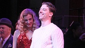 Little Me star Christian Borle smiles at the cheering crowd while Rachel York looks on.