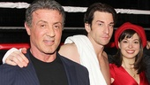 Sylvester Stallone with Rocky stars Andy Karl and Margo Seibert.