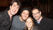Composer Jason Robert Brown, Steven Pasquale, Kelli O'Hara and Sh-K-Boom Records founder Kurt Deutsch come in for a group shot.
