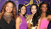 Courtney Reed and her on stage Aladdin attendants Marisha Wallace, Tia Altinay and Khori Michelle Petinaud take a group shot.