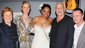 Cynthia Nixon (second from l.) and her wife Christine Marinon, and designer Carmen Marc Valvo and his partner Christian Knaust take a parting shot with Audra McDonald. See her in Lady Day at Circle in the Square Theatre!