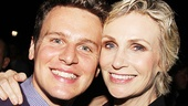 Glee stars Jonathan Groff and Jane Lynch.