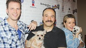 Cabaret players Bill Heck, Danny Burstein and Linda Emond hang out with some adorable pups.