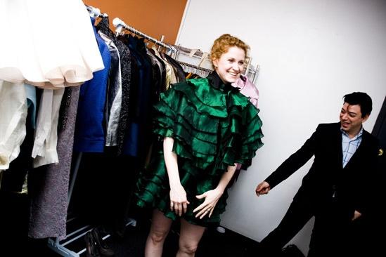 Karine Plantadit and Christiane Noll Tony shopping – Christiane Noll – green