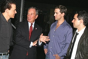 Photo Op - Mayor Bloomberg at Jersey Boys - Christian Hoff - Michael Bloomberg - Daniel Reichard - John Lloyd Young