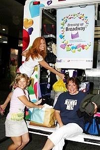 Photo Op - Mamma Mia! Fed Ex Event - Carolee Carmello - Carey Anderson - Gina Ferrall  (in truck)