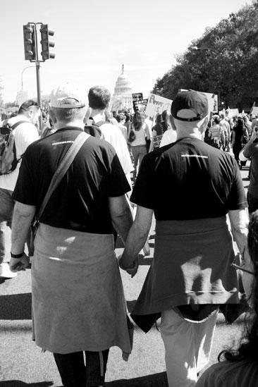 Hair at the National Equality March - Gay couple