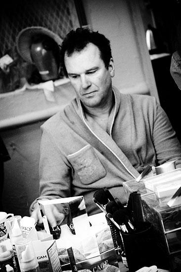 Douglas Hodge Backstage at La Cage – in robe