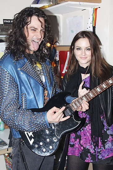 Leighton Meester at Rock of Ages - Leighton Meester - Constantine Maroulis - guitar