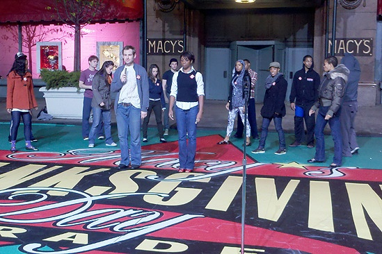 Memphis at Macy's Thanksgiving Day Parade – Chad Kimball – Montego Glover (rehearsal)