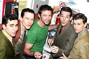 Hugh Jackman at Jersey Boys - John Lloyd Young - Christian Hoff - Hugh Jackman - J. Robert Spencer - Daniel Reichard (singing)