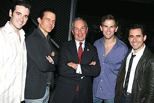 Photo Op - Mayor Bloomberg at Jersey Boys - Colin Donnell - Christian Hoff - Michael Bloomberg - Daniel Reichard - John Lloyd Young