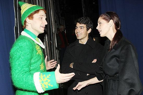 Backstage at Elf with Joe Jonas – Sebastian Arcelus – Joe Jonas – Ashley Greene