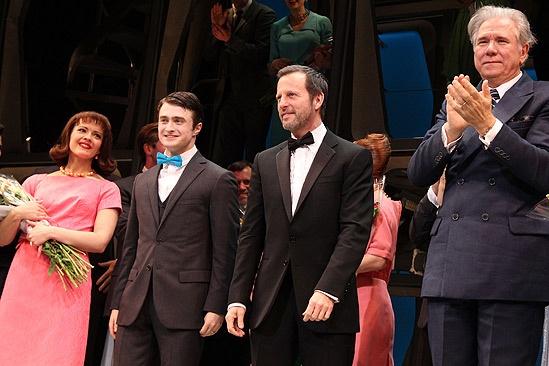 How to Succeed Opening Night – Rose Hemingway – Daniel Radcliffe – Rob Ashford – John Larroquette (curtain call)