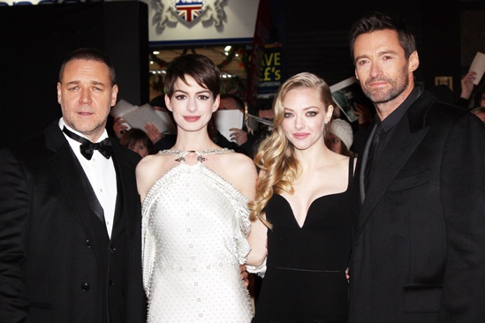 Les Miserables London premiere – Russell Crowe – Anne Hathaway – Amanda Seyfried – Hugh Jackman