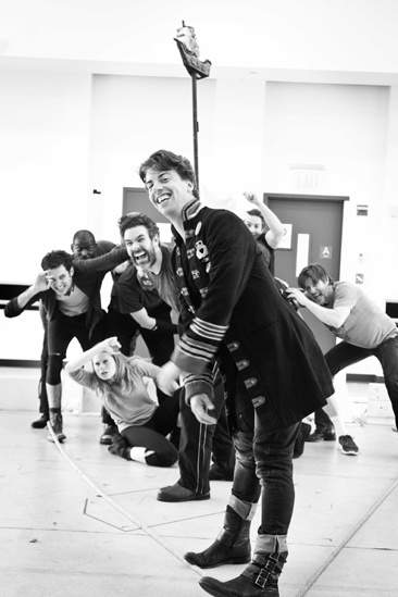 Peter and the Starcatcher Rehearsal – Christian Borle with ship on Back
