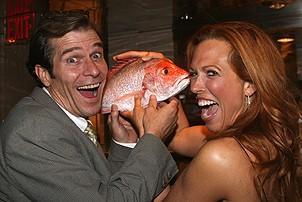 Photo Op - Mamma Mia! Fifth Anniversary - David McDonald - Carolee Carmello (with fish)