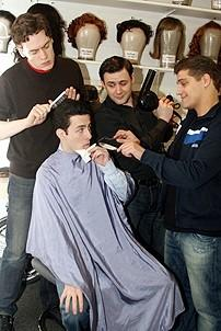 Photo Op - Jersey Boys in SF - Erich Bergen - Christopher Kale Jones - Michael Ingersoll - Deven May (barber shair)