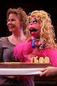 Photo Op - Avenue Q plays 1,500 performance - Lucy the Slut with cake