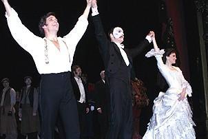Photo Op - Phantom 8,000th Performance - cc - Michael Shawn Lewis - Howard McGillin - Jennifer Hope Wills