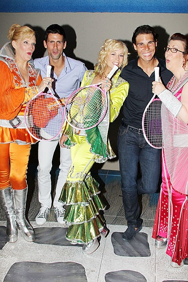 Novak Djokovic and Rafael Nadal at Mamma Mia – Novak Djokovic – Rafael Nadal – Stacia Fernandez – Lisa Brescia – Jennifer Parry (racquets)