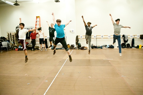 Newsies: Aaron J. Albano, Ryan Steele, Jess LeProtto, Ephraim M. Sykes and Kyle Coffman