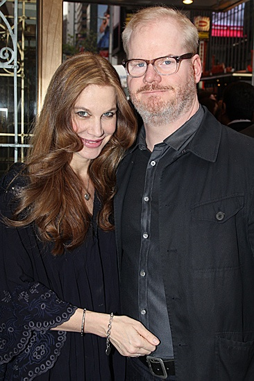 One Man, Two Guvnors opening night – Jim Gaffigan and wife