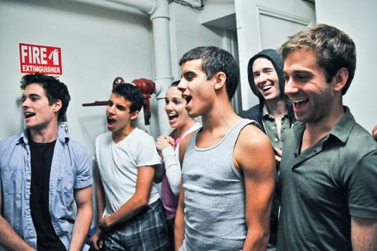 Newsies –Backstage- Corey Cott- David Guzman – Kara Lindsay- Jacob Guzman- Garett Hawe- Michael Fatica