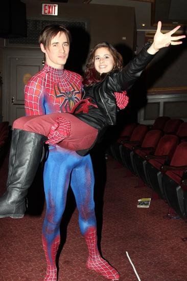 Carly Rose Sonenclar visits 'Spider-Man' - Reeve Carney - Carly Rose Sonenclar