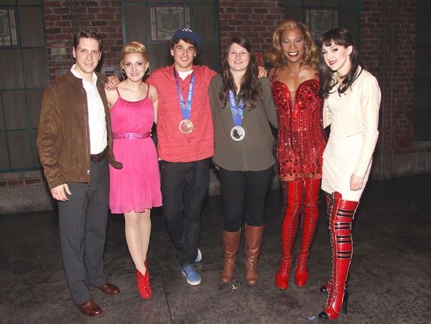 Kinky Boots - Olympians Nick Goepper & Devin Logan - OP - Andy Kelso - Annaleigh Ashford - Nick Goepper - Devin Logan - Billy Porter - Lena Hall