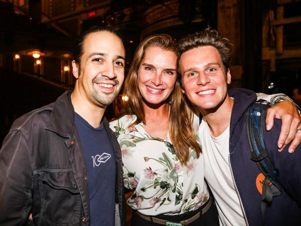 Hamilton - Backstage - 9/15 - Lin-Manuel Miranda, Brook Shields and Jonathan Groff
