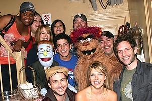 Photo Op - It's Always Sunny in Philadelphia at Avenue Q - cast with Charlie Day - Mary Elizabeth Ellis - Glenn Howerton