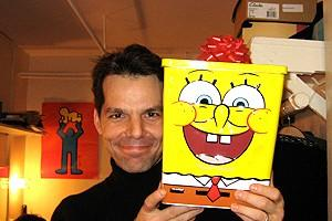 Photo Op - Holidays at Jersey Boys - J. Robert Spencer (with Sponge Bob)